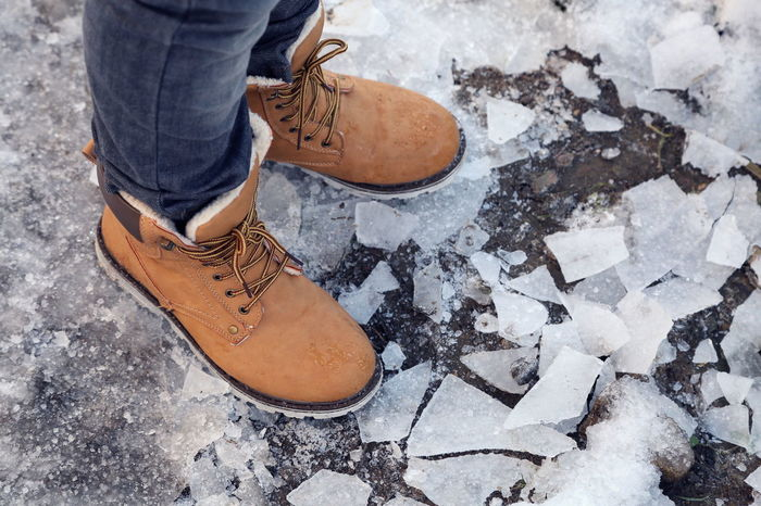 Brown Child Close-up Cracked Day Fashion Fun Ground Human Body Part Ice Leather Lifestyles Low Section One Man Only One Person Outdoors People Playing Shoe Snow Standing Winter Snow Sports