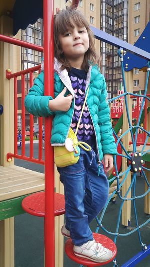 Full length of cute girl in playground