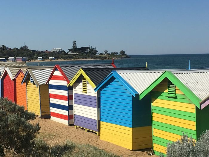 Melbourne Bathing Boxes Icon Clear Sky Blue Multi Colored No People Outdoors Building Exterior Beach Hut Flag Built Structure Day Beach Sea Sky Architecture Nature Beachphotography Taking Pictures Summer Seascape EyeEm Gallery Summertime Tranquility