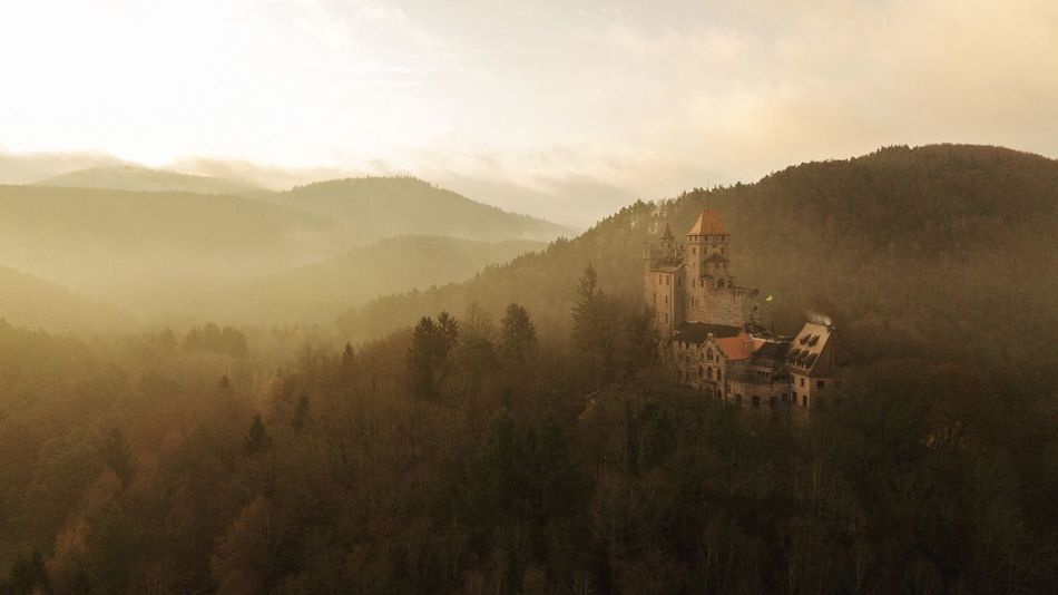 Sunrise at Burg Berwartstein, Palatinate Forest. Dji Aerial View Beauty In Nature Mountain Nature Landscape Tranquil Scene Tranquility Tree No People Outdoors Sky Building Exterior Architecture Built Structure Scenics Day Mountain Range Fog
