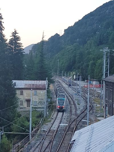 Railroad Track Rail Transportation Train - Vehicle Transportation Public Transportation Mode Of Transport High Angle View Railroad Station No People Travel Tree Steam Train Outdoors Day Locomotive Nature Commuter Train Sky Travel Destinations Limone Piemonte