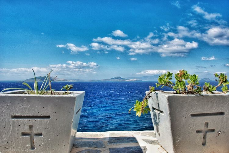 Views across the Ageon sea to Turkey Rough Sea Sea Water Nature Sky Plant Beauty In Nature Cloud - Sky Day Blue Horizon Over Water Flowering Plant Potted Plant
