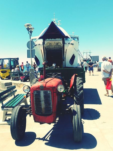Outdoors Day Sky Ferry Ferry Landing Tractor Arrival On Silba