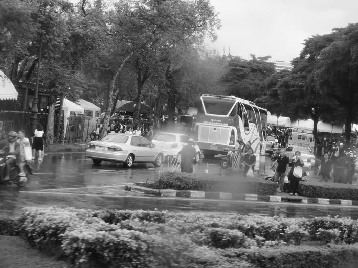 Cars on wet road in city during rainy season