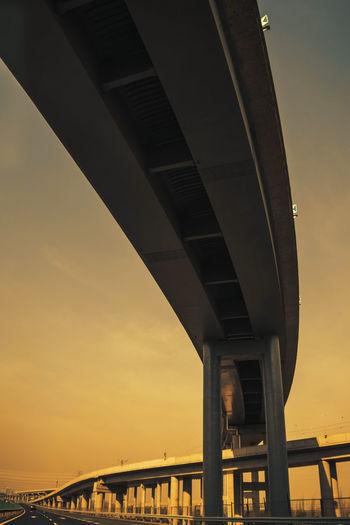 朝行暮行,道路重重,暮行朝行,茫茫前程。 road Bridge Connection Low Angle View Outdoors Overpass Long Road Transportation Sunset Sunrise Morning