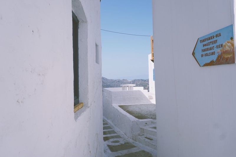 EyeEm Selects Architecture Built Structure Day Building Exterior Window No People Outdoors Whitewashed Clear Sky Sky White Whitewall Whitewash Whitewashed Houses Greece Nisyros Nikia Greek Islands Sign