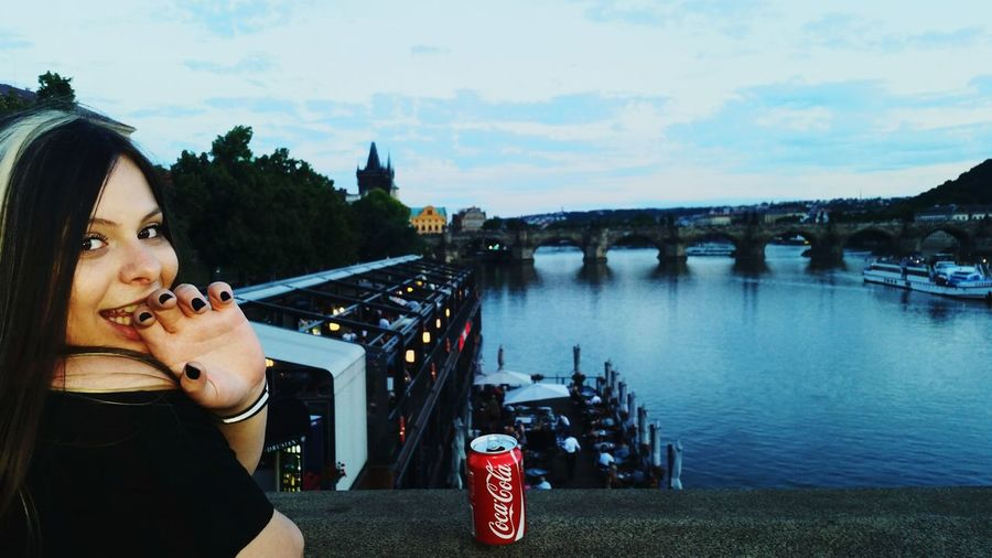 Travel With The Best Friends <3 ♡ ♤ <3 Prague , Czech Republic <3 Woman I Like All The Bridges Of Prague The Bridge The Castle Charles Bridge I Love Prague Coca-cola Black Nails Sunset Me One Young Woman Only