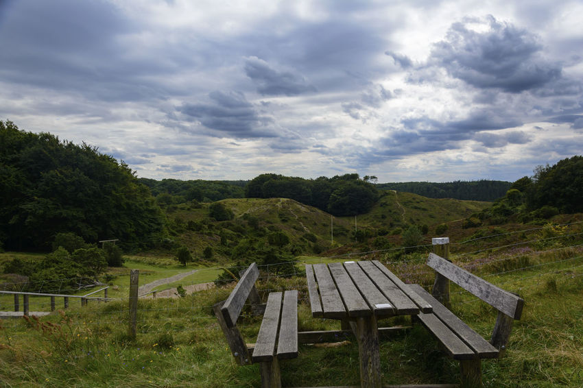 Denmark Nature Clouds And Sky Landscape Nordjylland Rebild Table And Bench