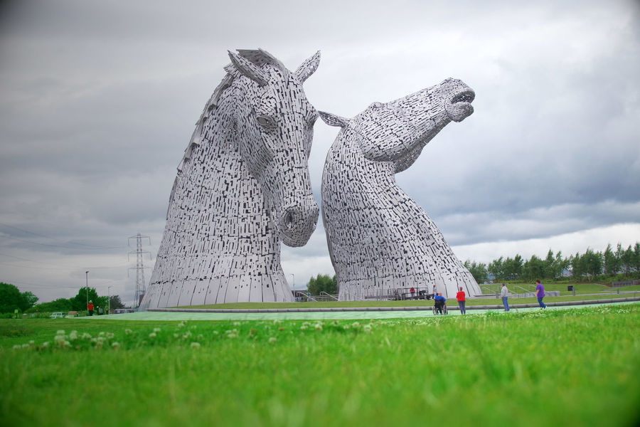 Kelpies Of Falkirk Cloud - Sky Day Field Grass Green Color Kelpie Kelpies  Large Group Of People Nature Outdoors People Sky Tree