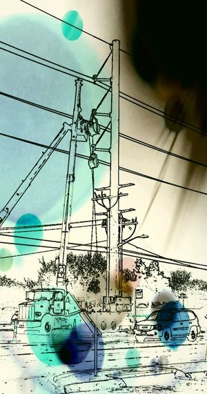 Close-up Connection Day Electricity Pole Electricity Wires Low Angle View Negative Effect Negative Of Layers Sky Technology