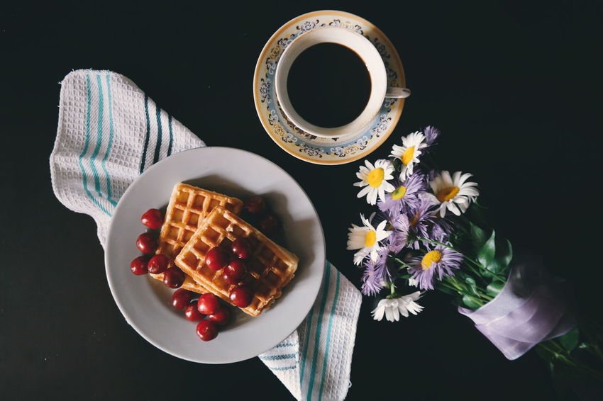 Breakfast Black Background Refreshment Food And Drink Coffee Coffee ☕ Coffeeaddict Coffeetime Coffee Break Coffee Cup Coffee - Drink Coffeelovers Waffle Waffle Time Waffle Lover