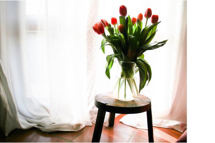 Flower Vase On Table Against Curtain