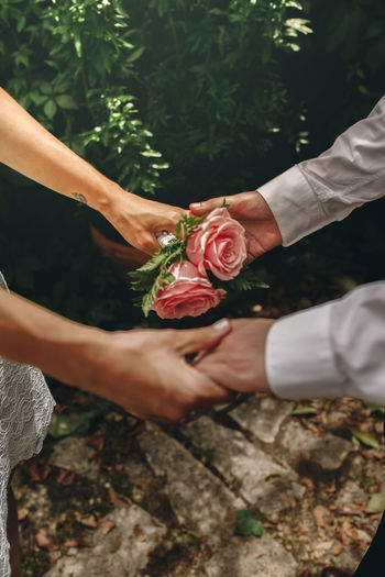 Cropped hand of couple holding hand against plant