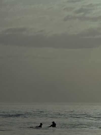 Surf Lonely Water Sea Sky Beauty In Nature Scenics - Nature Cloud - Sky Nature Swimming Horizon Over Water Tranquil Scene Horizon Tranquility Waterfront Land Beach Animal Animal Themes Real People Animal Wildlife Outdoors
