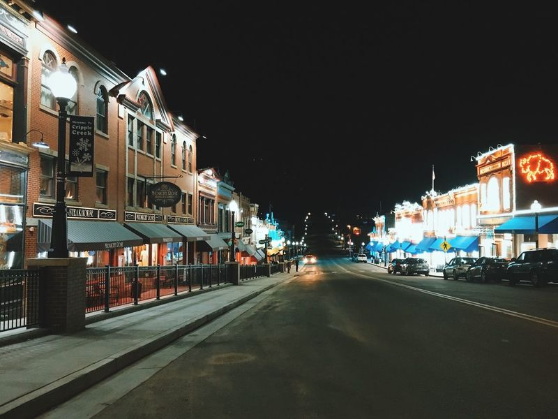 Cripple Creek Night Illuminated Building Exterior City Architecture Street Built Structure The Way Forward Transportation Outdoors Road No People Sky Historic Little Town Little Town In The Middle Of Nowhere