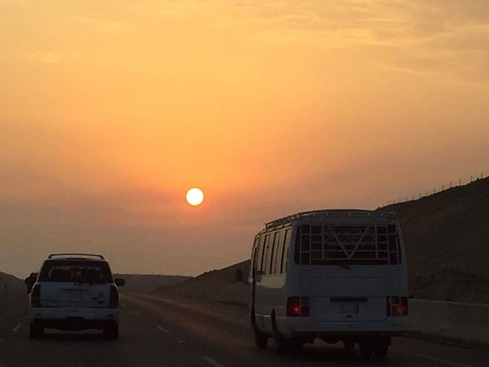 Transportation Sunset Sun Travel Land Vehicle Car Landscape Sky Road No People Nature Desert السعودية  مكة السعودية  مكة المكرمة المملكة_العربية_السعودية