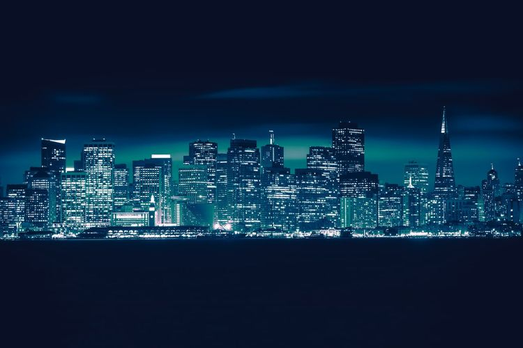 San Francisco Skyline at Night. Bluish Color Grading Concept. San Francisco San Francisco, California Architecture Building Exterior Built Structure City Cityscape Illuminated Modern Night No People Outdoors Sea Sky Skyscraper Travel Destinations Urban Skyline