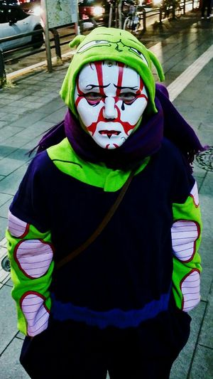 Uniqueness Every year on Halloween Tokyo is possesed with craziness. Trying to fit in, but still differentiate from others is not an easy task. Portrait Tokyo Cosplay Mask Dragonball Mashup Tradition Vivid Colours  Halloween Mori Looking At Camera One Person