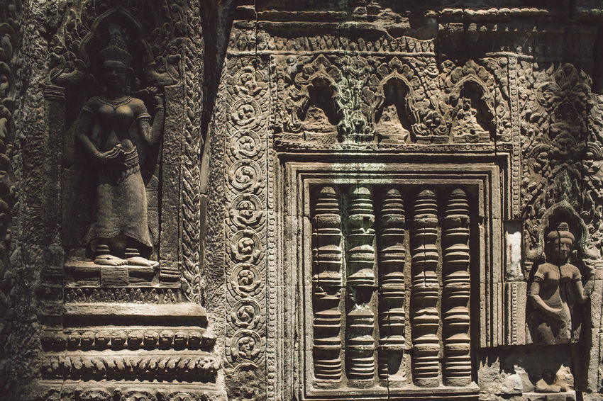 Siem Reap Cambodia Angkor Art And Craft Representation Human Representation Architecture Sculpture Male Likeness Built Structure Craft Creativity Statue The Past Building History Female Likeness No People Building Exterior Day Belief Religion Spirituality Ornate Carving Place Of Worship