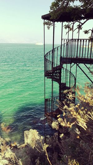 Spiral staircase by sea