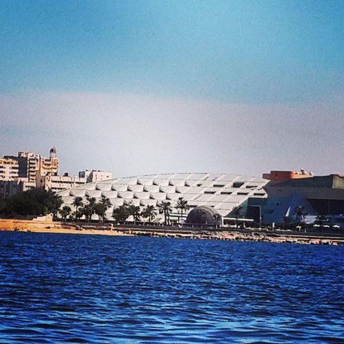 Bibliotheca Alexandrina Library Bibliotheque seaview yacht fishing boat sailing sky qaitbay citadel castle fort mediterranean egyptian sea alex port shipyard alexandria egypt