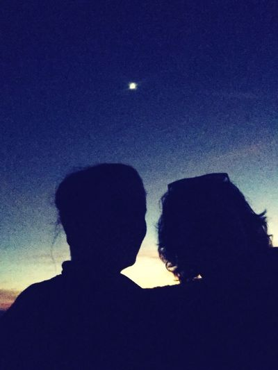 Sunset sisters Silhouette Nature Moon Real People Night Low Angle View Sky
