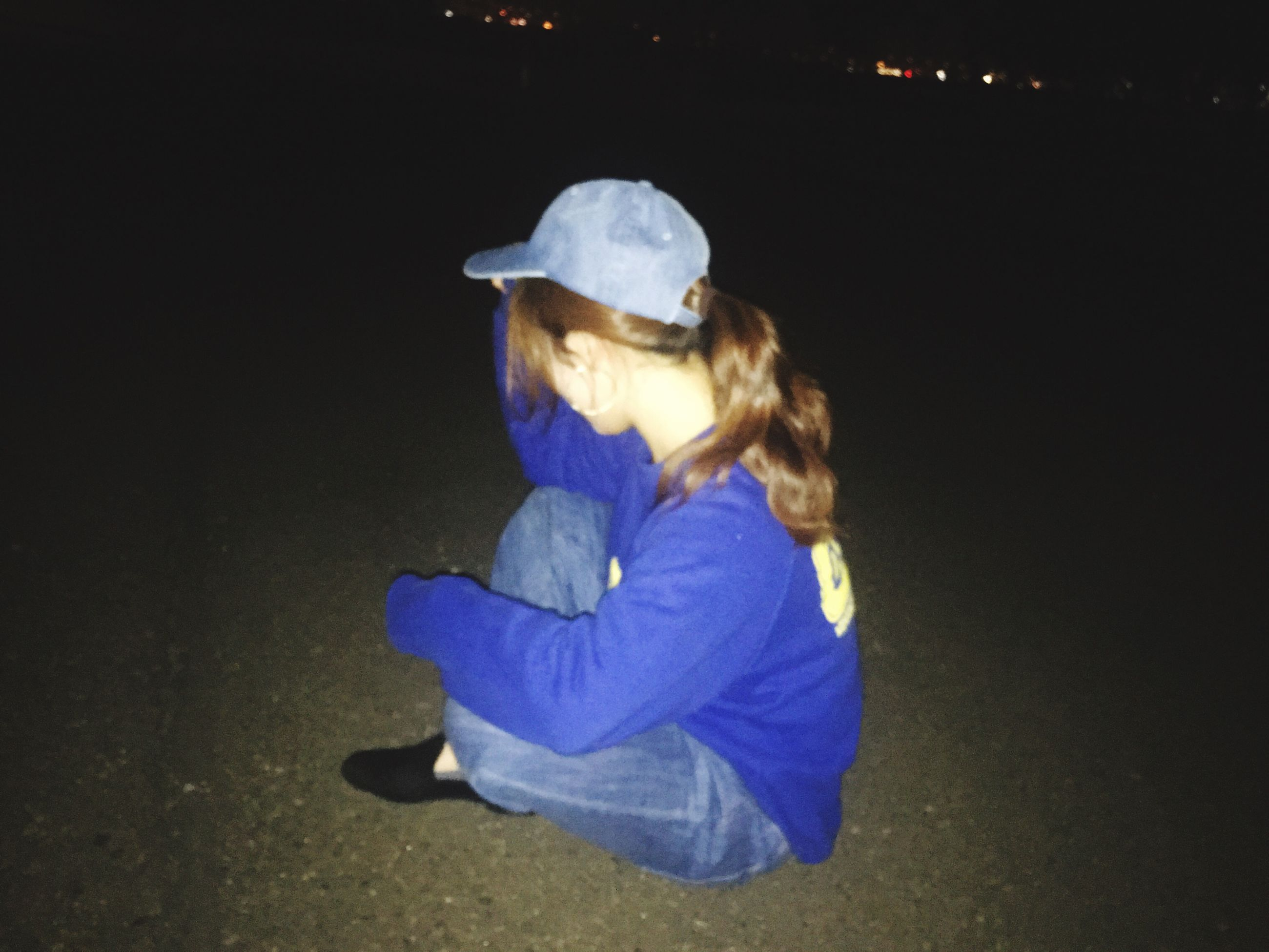 childhood, real people, girls, child, full length, one person, children only, outdoors, night