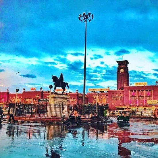 Jodhpur Heritage Railway Station Water Reflection Sky Rainy Days Bluecity