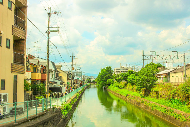 Architecture Backgrounds Building Exterior Built Structure Cable Electricity Pylon Exploring EyeEm Best Shots Green House Japan Japanese  Kyoto Landscape No People Outdoors Photography Power Line  Residential Building Sky Summer Tradition Transportation Travel Water