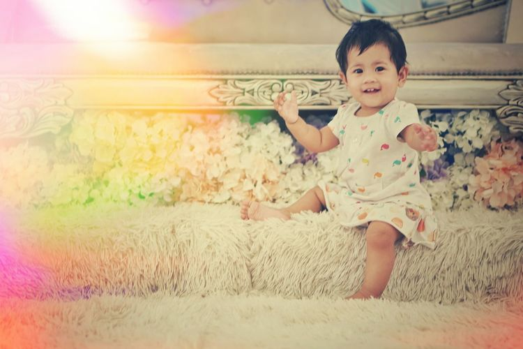 Vintage Retro Baby Girl Happiness Childhood Child Children Only One Person Portrait People Girls Sitting Playing Multi Colored Day