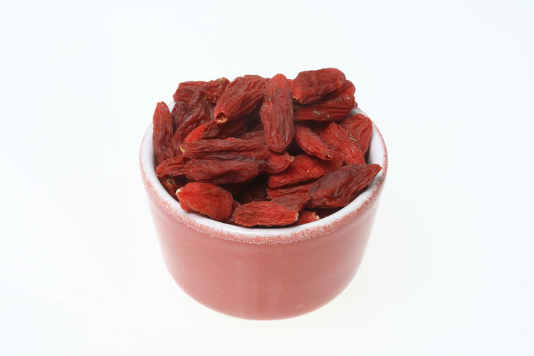 Goji berries, a fruit berry and medicinal plant Bowl Close-up Dried Fruit Food Food And Drink Freshness Fruits Goji Gojiberries Gojiberry Healthy Eating Medicinal Plant No People Studio Shot White Background