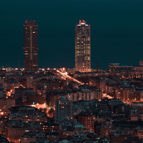 Barcelona Nightphotography Architecture Art Arts Building Exterior Built Structure City Cityscape Illuminated Modern Night No People Outdoors Sky Skyscraper Urban Urban Landscape Urban Skyline Urbanphotography