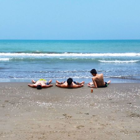 Sunbathing on the Beach of Caspian Sea