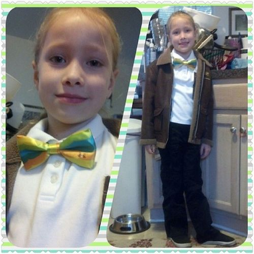 Didn't get this up this morning, but this was Ari bear's chosen outfit today. We got a Bravest Warriors bow tie in our Loot Crate and she loved it so I let her have it. She couldn't wait to wear it to school. Ha ha. That's my girl. She made her I took a picture of her whole outfit, plus a close-up to highlight the bowtie and the little face on it. :) Chosenoutfit Bowtie Lootcrate Bravestwarriors blacktiegeek schoolday happygirl readytogo geekstyle thatsmygirl mommysgirl rockingit bowtielove