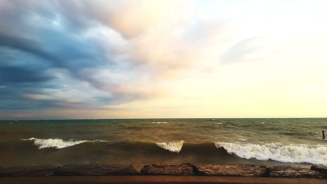 Post storm lake waves ... Almost Surfable Beach Horizon Over Water Sunset Cloud - Sky Water Beauty In Nature Nature Pickering Frenchmans Bay SummerWaves Post Storm Post Storm Sunset Windy Lake Lake Ontario
