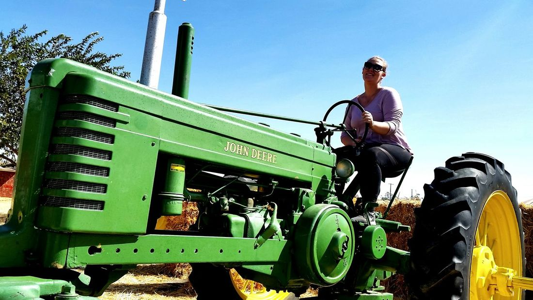 Adults Only Adult Day One Person Outdoors People Standing Low Angle View Agriculture Clear Sky Rural Scene Sky Nature Combine Harvester John Deere Tractor
