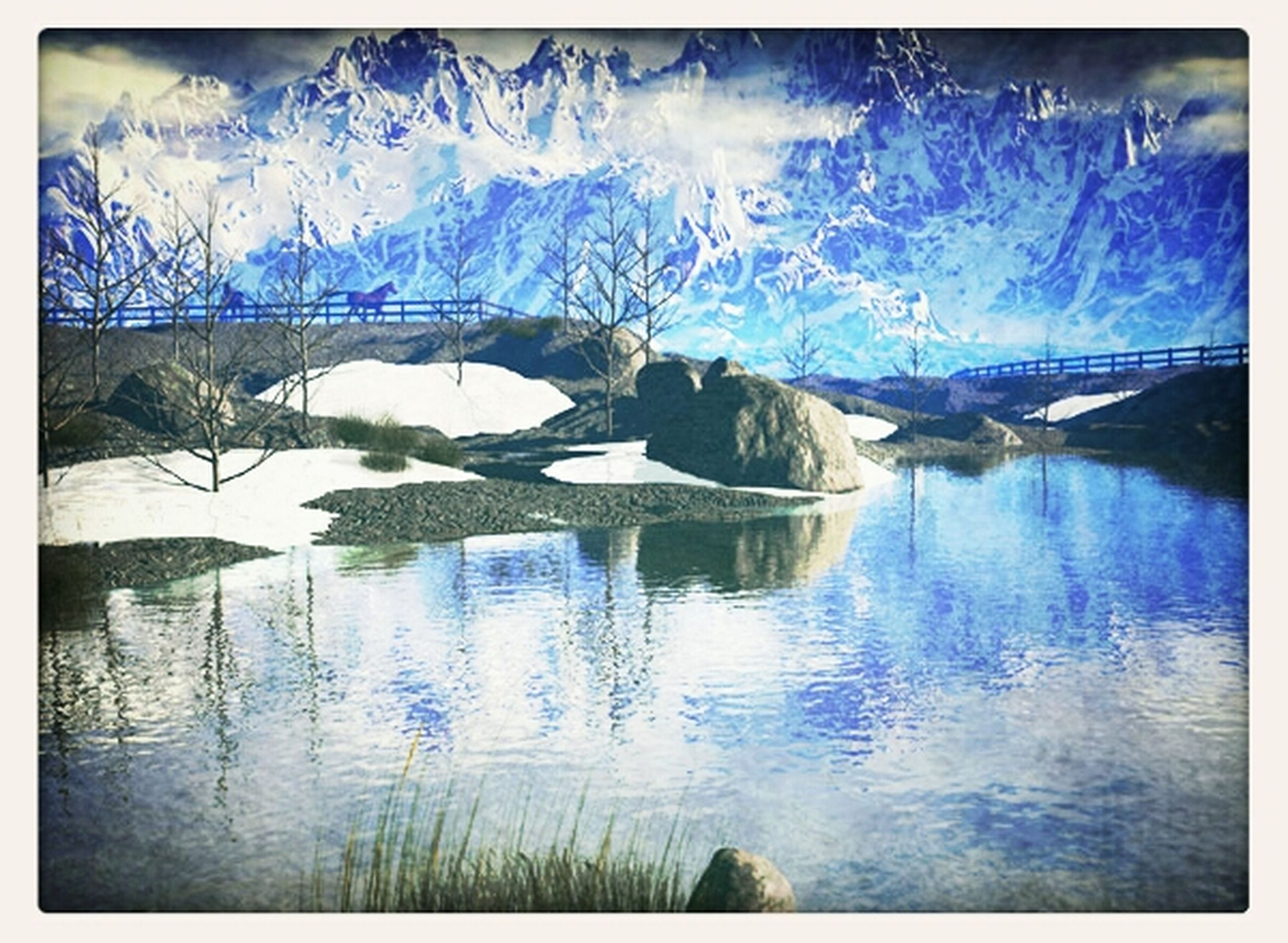 transfer print, auto post production filter, water, beauty in nature, reflection, nature, tranquil scene, sky, tranquility, scenics, panoramic, blue, lake, waterfront, cold temperature, winter, snow, bare tree, cloud - sky, mountain