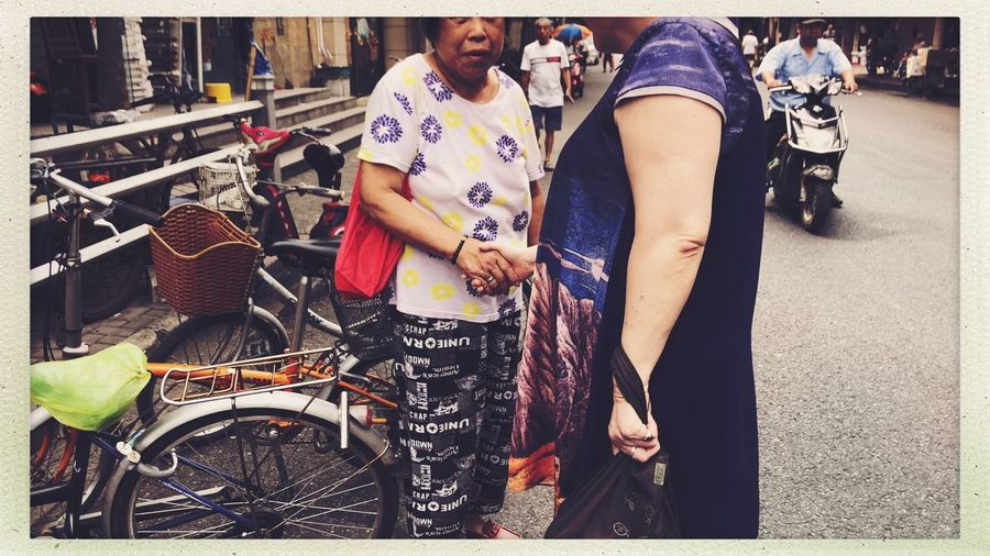 Shanghai Streetphotography Friendship Transfer Print Auto Post Production Filter Real People Lifestyles Women Standing Adult Casual Clothing City Day People Street Group Of People Outdoors Togetherness Leisure Activity Emotion Human Connection