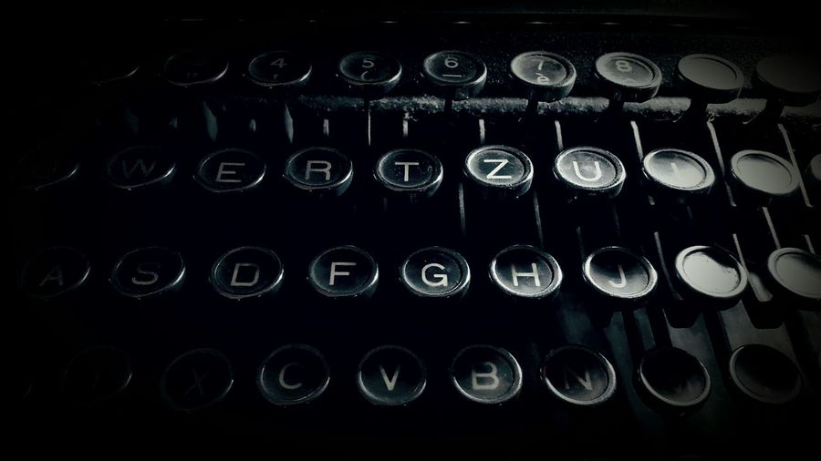 Close-up of typewriter keyboard