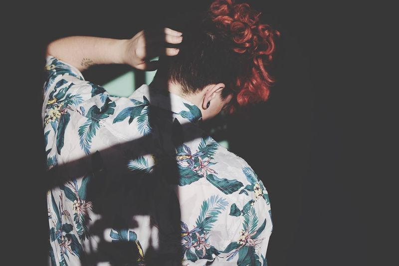 Retro Fashion. Creative Light And Shadow Fashion Photography Fashion Backshot Curls Curly Hair EyeEm Selects Rear View Redhead Black Background Fashion One Person Studio Shot Women Young Adult One Woman Only Kimono Lifestyles Portrait Human Back Real People Fashion Stories The Fashion Photographer - 2018 EyeEm Awards