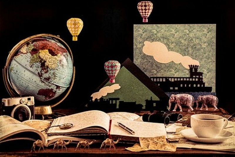 Still Life Julesverne Around The World In 80 Days Paper Art Paper Weaving Hot Air Balloons Travel Creativity Telling Stories Differently