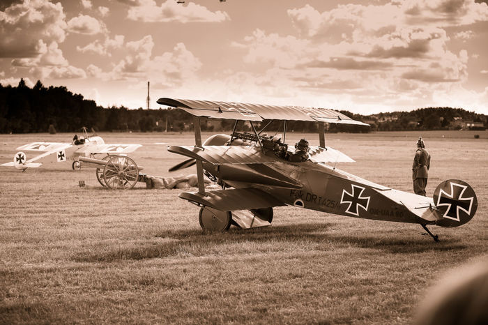 Air Planes Air Show Cloud - Sky Fighter Plane First World War Historical Reconstruction Historical Reenactment Iron Cross Old Fashioned Old Planes Period Costume Plane Red Baron Sepia War Plane