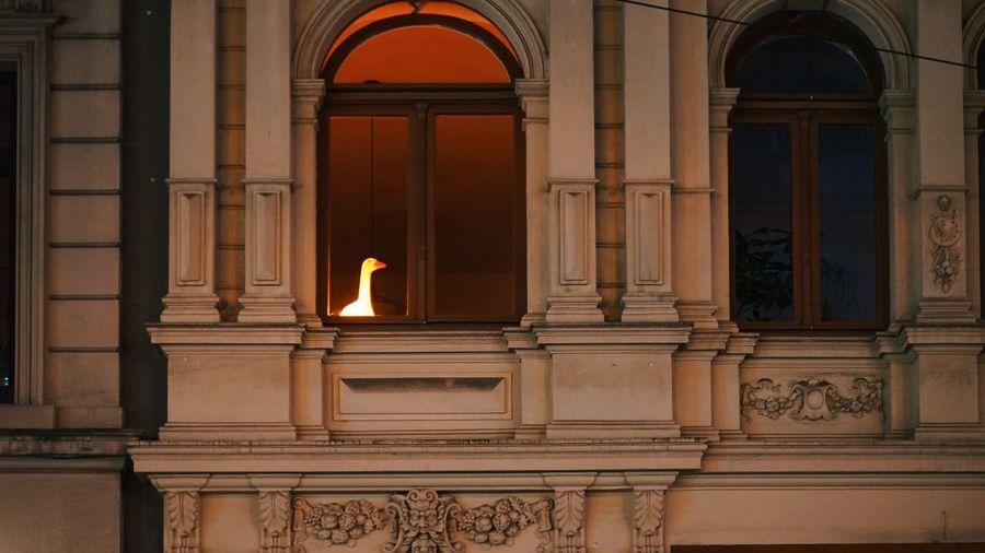 Illuminated lamp against building