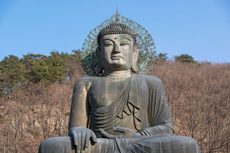 Statue of buddha against clear sky