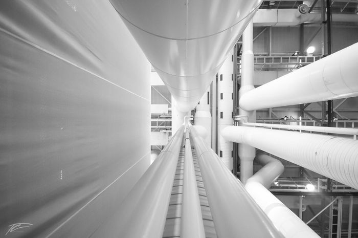 City of pipes II France Paris Paris, France  Pipe - Tube Built Structure Industry Technology Modern Architecture No People Indoors  Day Interior Design Factory Science Fiction Blackandwhite Black And White White Art Is Everywhere Blackandwhite Photography Wide Shot Photography Photographer Photooftheday Nikon