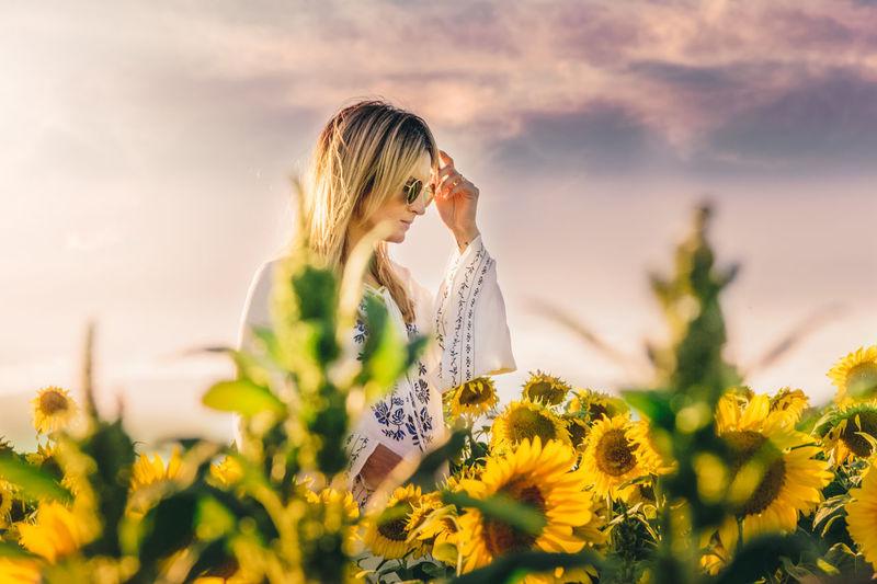 Beauty Beauty In Nature Field Flower Nature Sunset Women