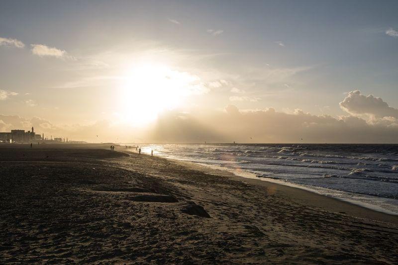 Beach Scheveningen Den Haag Scheveningen  Sky Water Sea Land Beach Scenics - Nature Beauty In Nature Tranquility Tranquil Scene Nature Sunlight Sunset Cloud - Sky Horizon Horizon Over Water Sand Sun Outdoors Idyllic
