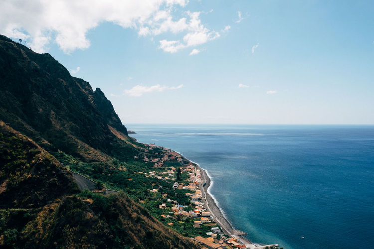 Beautiful Madeira PR 19 Hiking Levada Madeira Paul Do Mar Sea Water Sky Scenics - Nature Beauty In Nature Horizon Beach Horizon Over Water Cloud - Sky Nature Mountain Land Tranquil Scene Tranquility Coastline Environment No People Blue Outdoors Bay