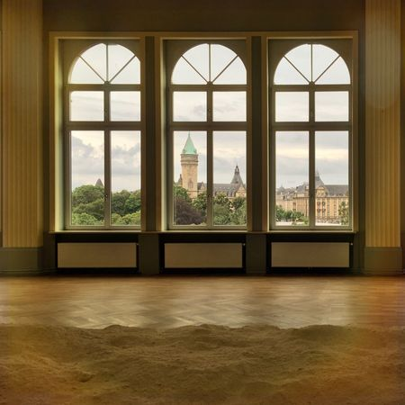 Luxembourg Casino Installation ArtWork Sand Inside Windows View From Above City Tower Wood Old Buildings Architecture Hidden Gems  Interior Style Walldecoration