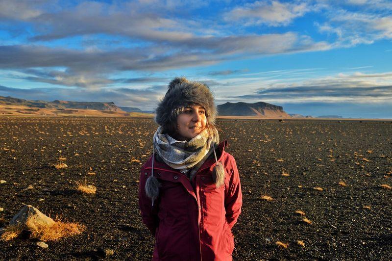 Full length of girl standing on land in iceland